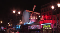 Paris - France - Night - Club Moulin Rouge - HD - stock footage