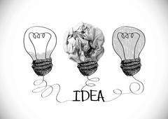 concept crumpled paper light bulb metaphor for good idea - stock illustration