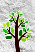Stock Illustration of set of trees with leaves on crumpled paper