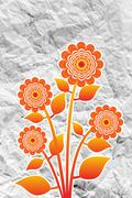 Flowers design on crumpled paper Stock Illustration