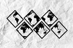 Stock Illustration of globe earth icons themes idea design on crumpled paper