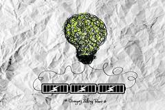 light bulb charging battery power idea design on crumpled paper - stock illustration
