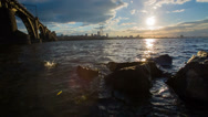 Stock Video Footage of Big City At Sunset