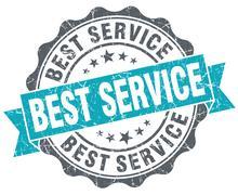 Best service blue grunge retro style isolated seal Stock Illustration