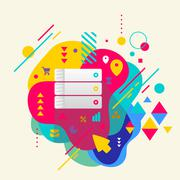 database on abstract colorful spotted background with different - stock illustration