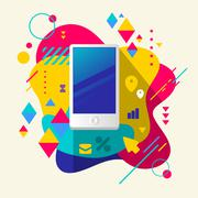mobile phone on abstract colorful spotted background with differ - stock illustration