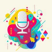 microphone on abstract colorful spotted background with differen - stock illustration