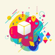 Stock Illustration of cube on abstract colorful spotted background with different elem