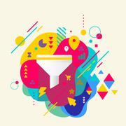 funnel on abstract colorful spotted background with different el - stock illustration