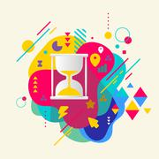 Hourglass on abstract colorful spotted background with different Stock Illustration