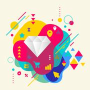 diamond on abstract colorful spotted background with different e - stock illustration