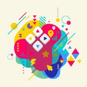 Joystick on abstract colorful spotted background with different Stock Illustration