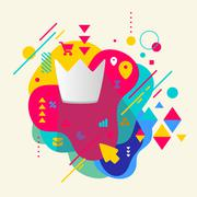 Crown on abstract colorful spotted background with different ele Stock Illustration