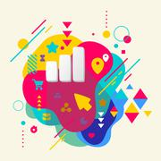 Rating on abstract colorful spotted background with different el Stock Illustration