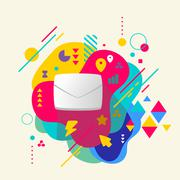envelope on abstract colorful spotted background with different - stock illustration