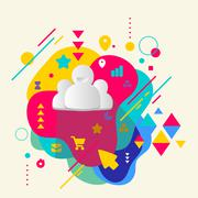 People team on abstract colorful spotted background with differe Stock Illustration