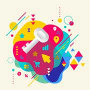 key on abstract colorful spotted background with different eleme - stock illustration