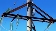 Cable wires on the power post Stock Footage