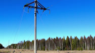 A power post with some cable wires on it Stock Footage