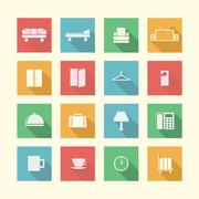 flat icons for hotel - stock illustration