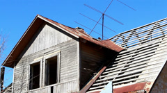 An old wooden and rusty house Stock Footage