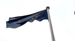 Europian union flag waving in the air Stock Footage