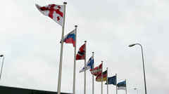 Eight flags from europian nations Stock Footage