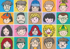 set of various cartoon faces illustration - stock illustration