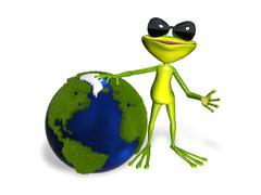 Stock Illustration of frog and globe