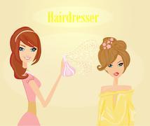 vector illustration of the beautiful woman in hairdressing salon . - stock illustration