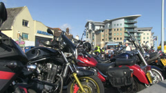 Row of parked motorbikes 03 Stock Footage