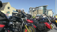 Stock Video Footage of row of parked motorbikes 03