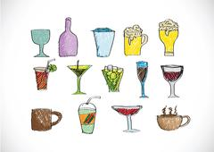drink beverage icons set - stock illustration