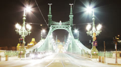 Liberty Bridge at Night Budapest Hungary Timelapse 3 zoom Stock Footage