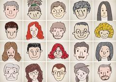 set of various cartoon faces illustration - stock illustration