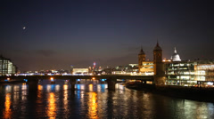 Southwark Bridge and moon Stock Footage