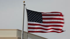 US Flag Waving In The Wind Stock Footage