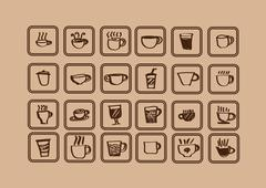 Coffee cup set or tea cup icon collection design Stock Illustration