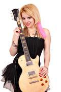 Beautiful teenage girl rock and roll star Stock Photos