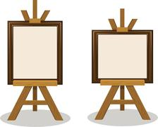 wooden easel with empty frames - stock illustration