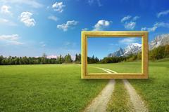 Idyllic landscape frame - stock illustration