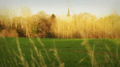 Normandy village church & landscape Stock Footage