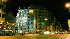 Casa Batllo was built by Antoni Gaudi in BARCELONA, with traffic cars in night Stock Footage