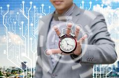 Stock Illustration of investor give more time for finish work