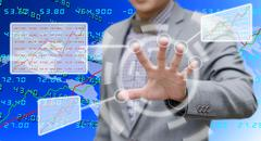 Stock Illustration of analyzer working with touch screen