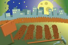 Kasvimaa yöllä Piirros