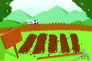 Stock Illustration of vegetable garden and cow