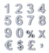 Stock Illustration of silver numbers and symbols