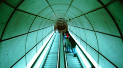 Escalators in Bilbaos metro. Is designed by Norman Foster - stock footage