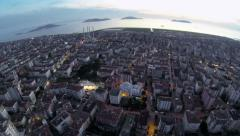 Crowded city of Istanbul. Drone taking off Stock Footage